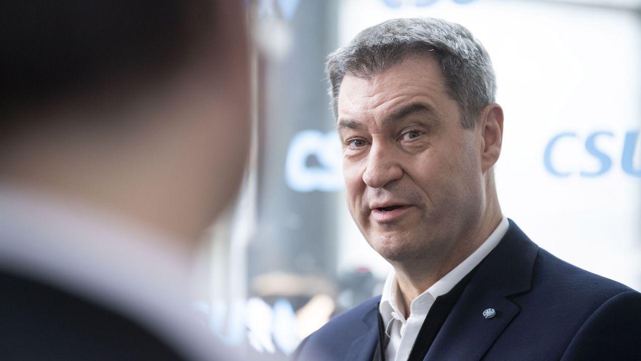 el líder de la CSU y primer ministro de Baviera, Markus Söder, durante la reunión de la ejecutiva de su partido.