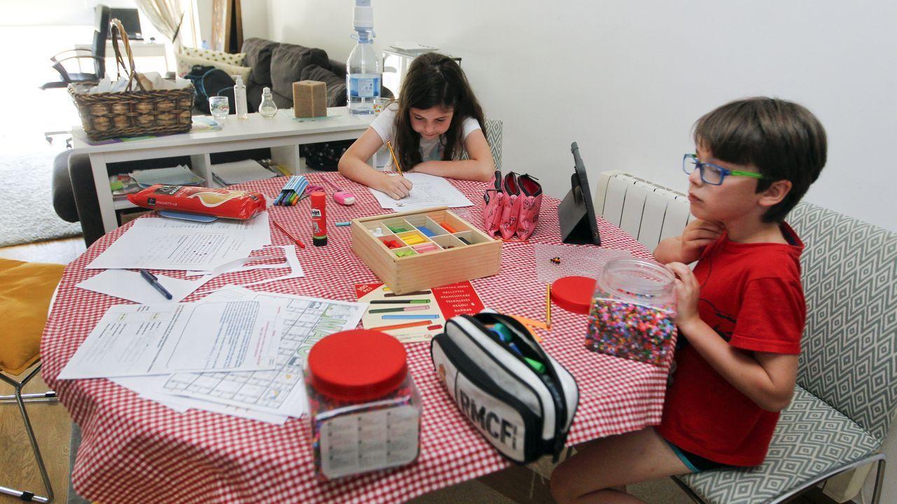 Alcoholemia doble en Cotobade.Dos escolares gallegos, haciendo los deberes en casa esta semana