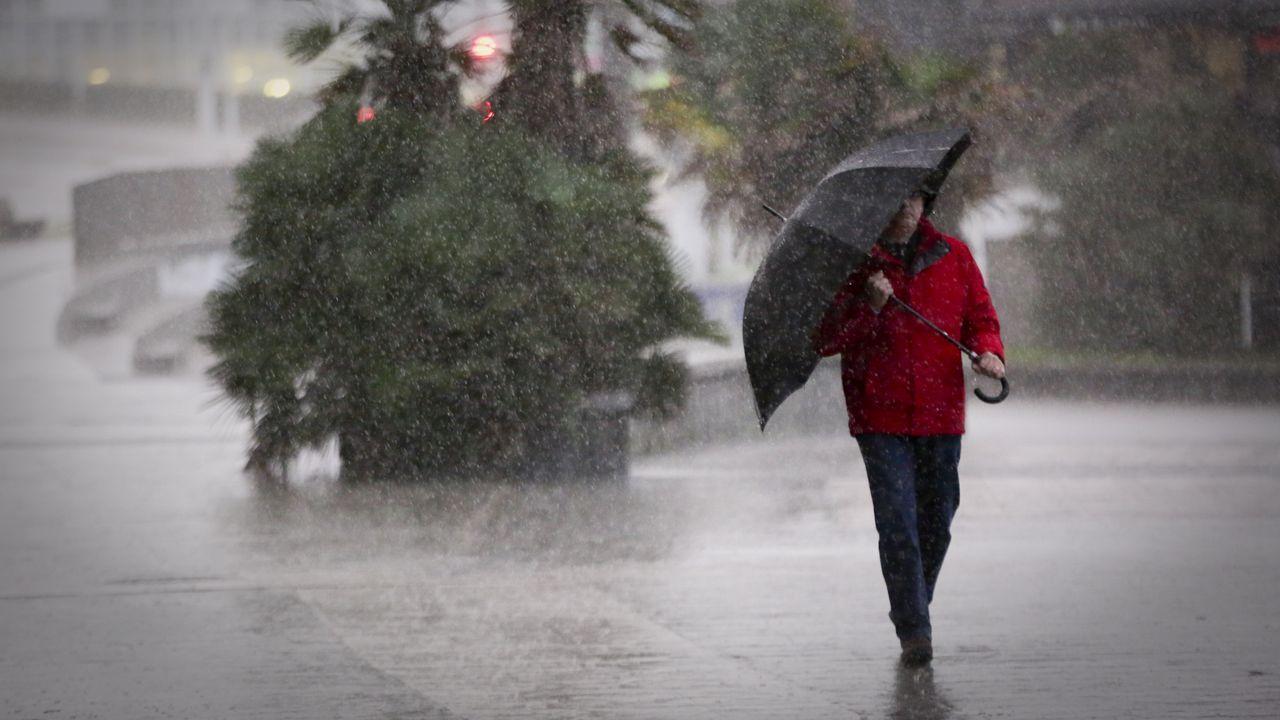 Lluvia de paraguas en A Coruña