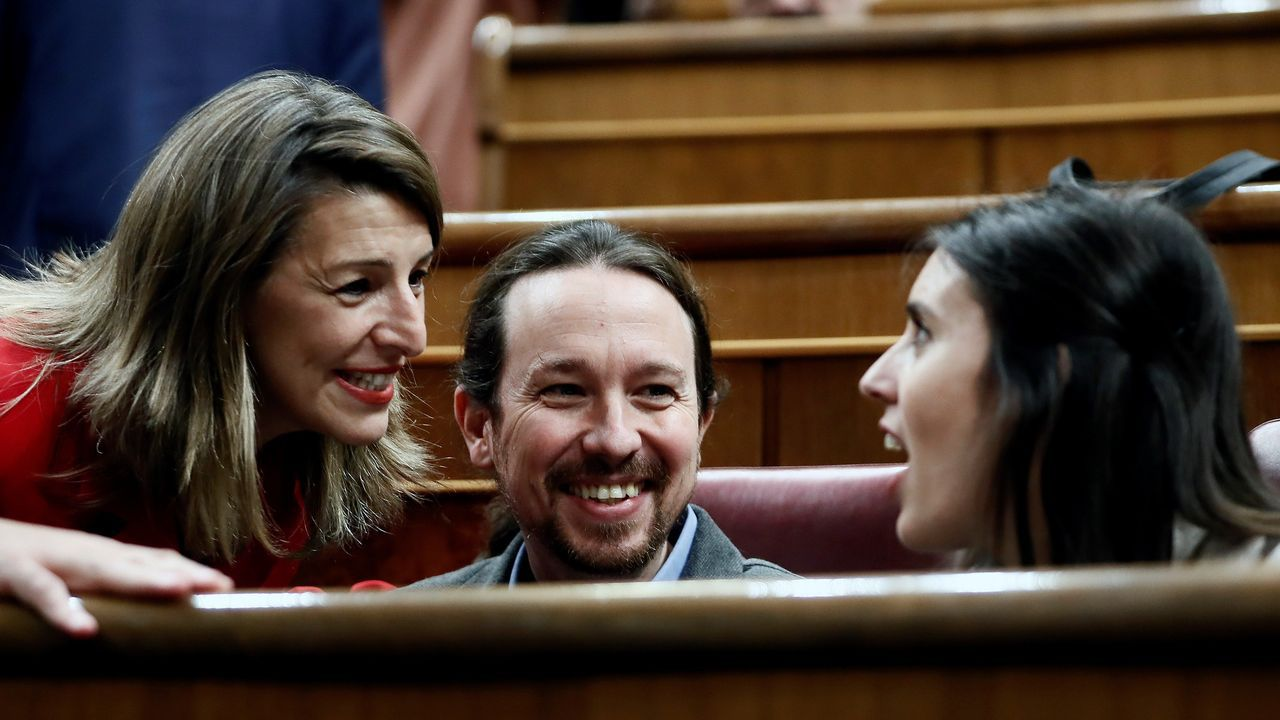 Yolanda Díaz, Pablo Iglesias e Irene Montero