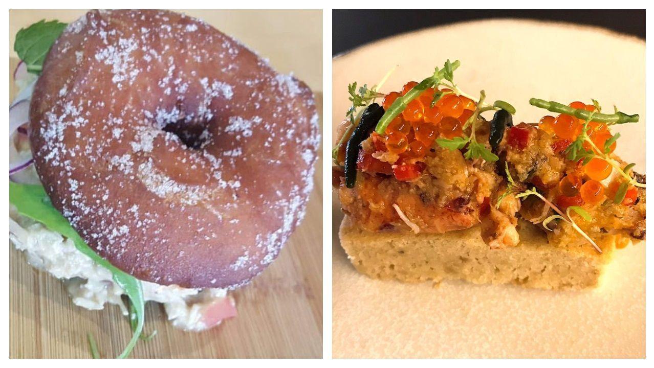 A la izquierda, un donut de pollo al curry de Dani López; a la derecha, el bizcocho con salpicón de Jorge Gago