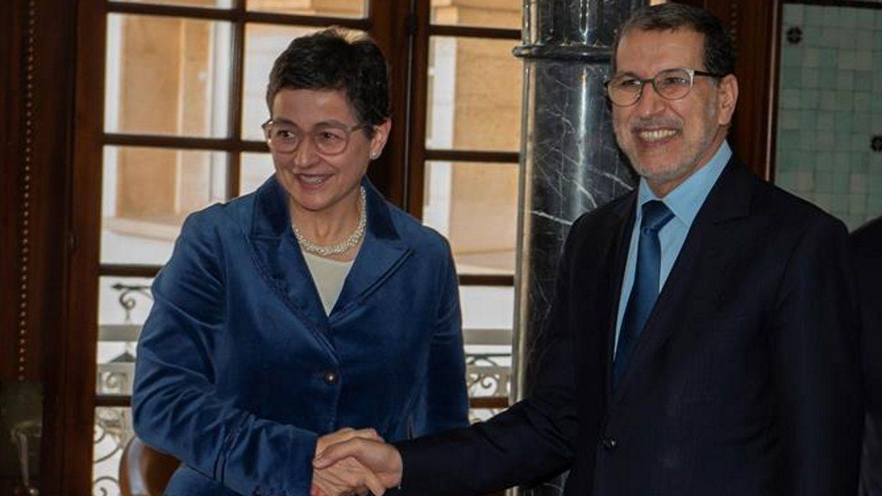 La ministra de Asuntos Exteriores, Unión Europea y Cooperación, Arancha González Laya, y el primer ministrode Marruecos, El Otmani, el pasado enero