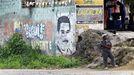 Mural con el rostro de Maduro en Venezuela