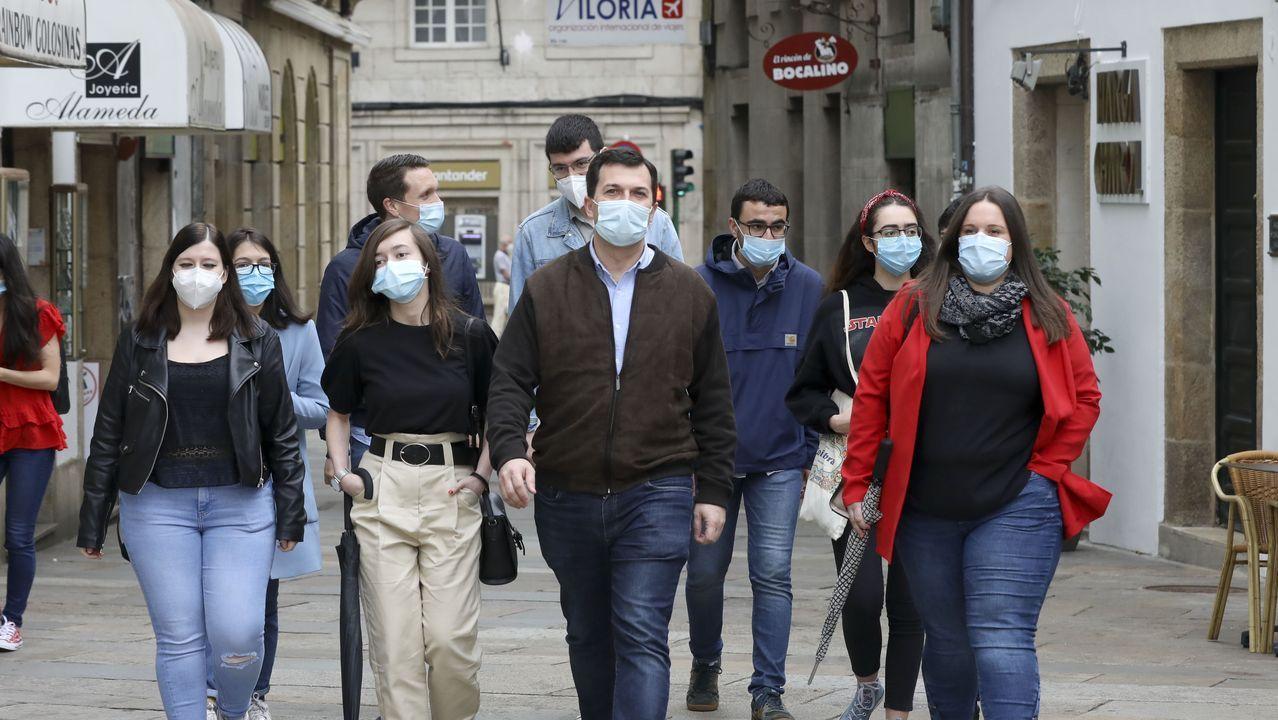 Pontevedra invita a <span lang= gl >«borrar a pegada do CO2»</span>.De izquierda a derecha y de arriba a abajo, Alberto Núñez Feijoo, Gonzalo Caballero, Antón Gómez-Reino y Ana Pontón