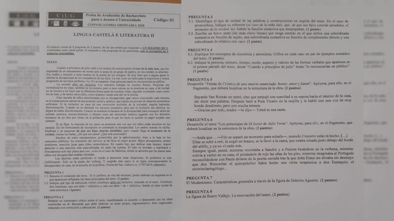 Examen de Lengua Castellana y Literatura de esta ABAU 2020