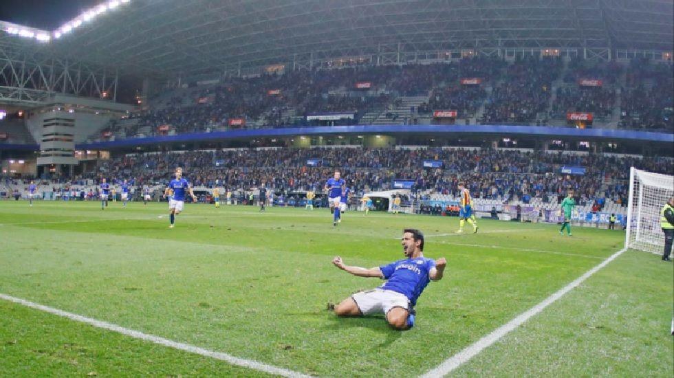 Jonathan Pereira celebra su gol frente al Levante