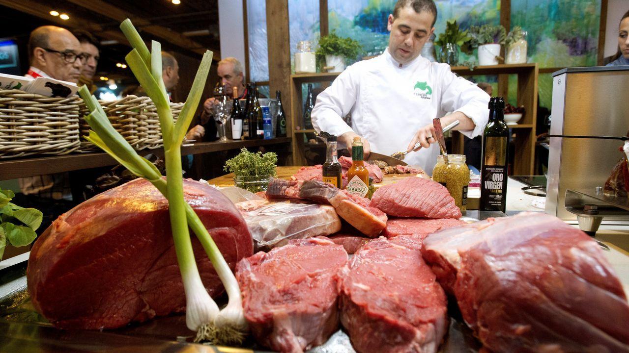 Vista del expositor de IGP Ternera Asturiana durante la inauguración del Salón Gourmet este lunes en IFEMA, Madrid