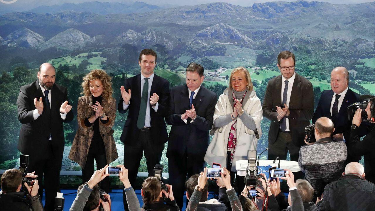 El líder del PP, Pablo Casado, en Oviedo donde presentó públicamente a la candidata popular a la Presidencia del Principado, Teresa Mallada, expresidenta de Hunosa, y al aspirante del PP a la Alcaldía de Oviedo, Alfredo Canteli, presidente del Centro Asturiano en la ciudad