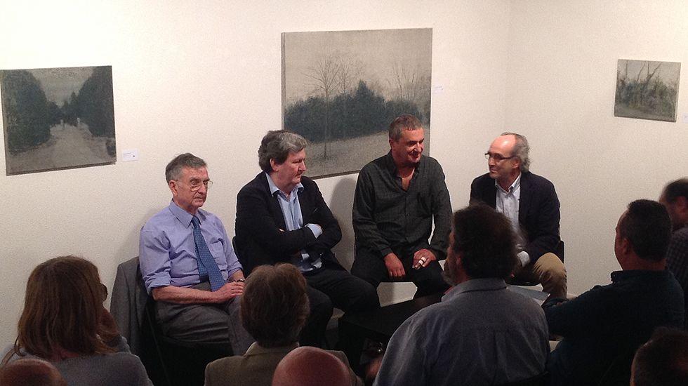Por la izquierda, Rubén Suárez, Juan Manuel Bonet, Miguel Galano y Nicolás Egido en la galería Cornión