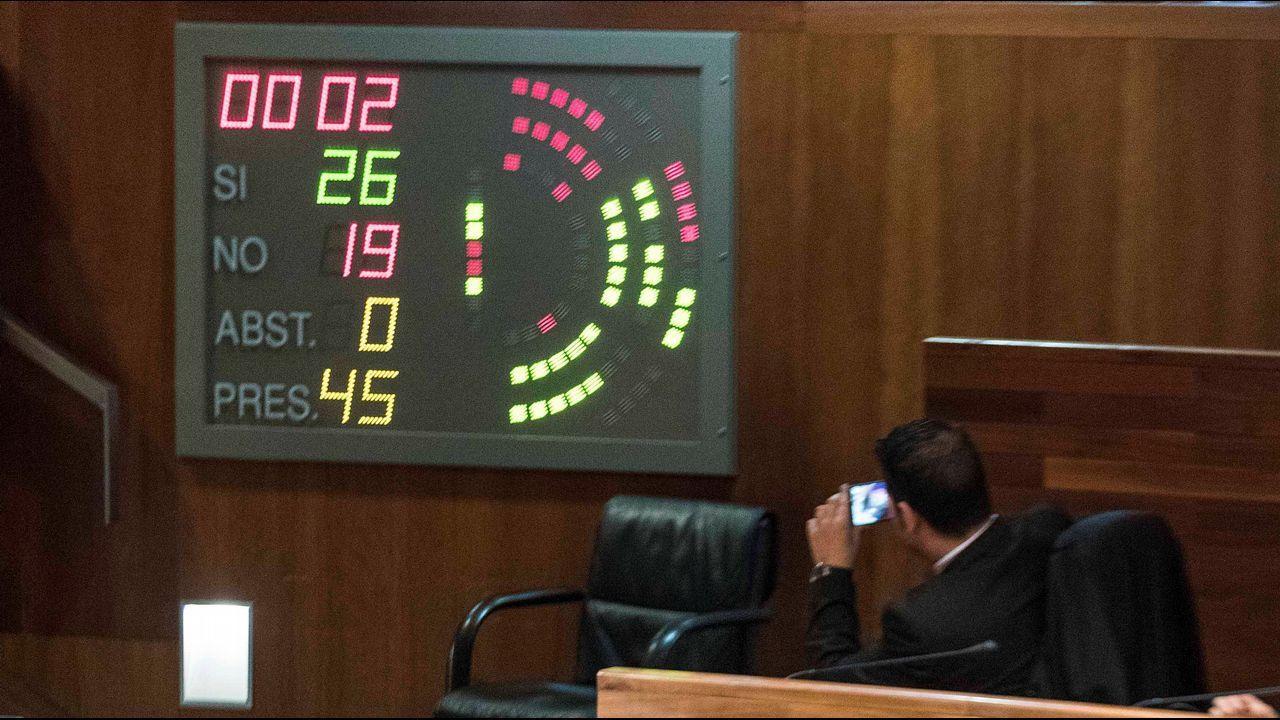 El diputado socialista Nino Torre fotografía el resultado de la votación de enmiendas a la totalidad de los presupuestos para 2018