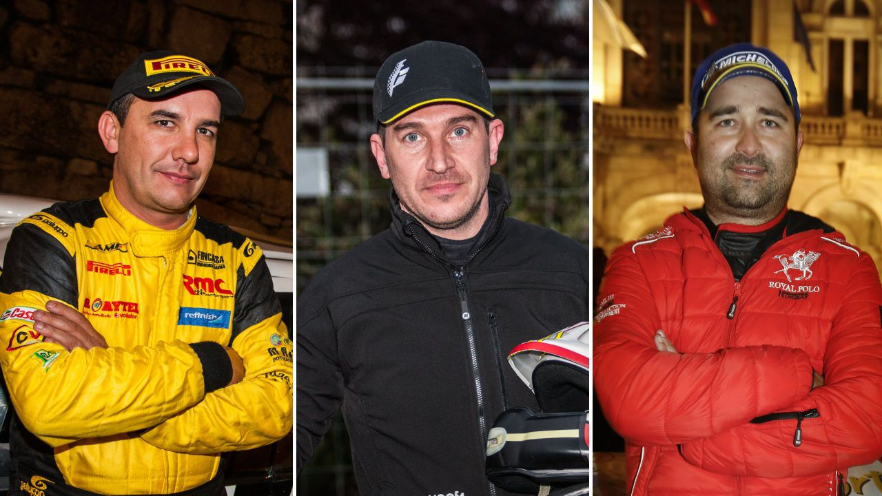 Alberto Meira, Iago Caamaño y Víctor Senra, pilotos de ralis