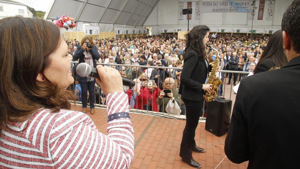 Imágenes de la jornada principal de la 39 Feira do Viño de Amandi.Los alcaldes de Ferrol, Jorge Suárez, y Santiago, Martiño Noriega