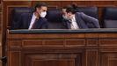 Pedro Sánchez y Pablo Iglesias, durante el debate de la moción de censura