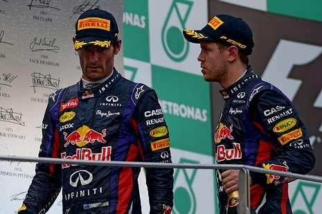 El Gran Premio de China, en imágenes.<span lang= es-es >Webber evita a Vettel</span>. El alemán intentó suavizar la tensión al abandonar el podio, pero Mark evitó escucharle.