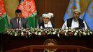 Ashraf Ghani, presidente de Afganistán, dirigiéndose a las dos cámaras parlamentarias en Kabul