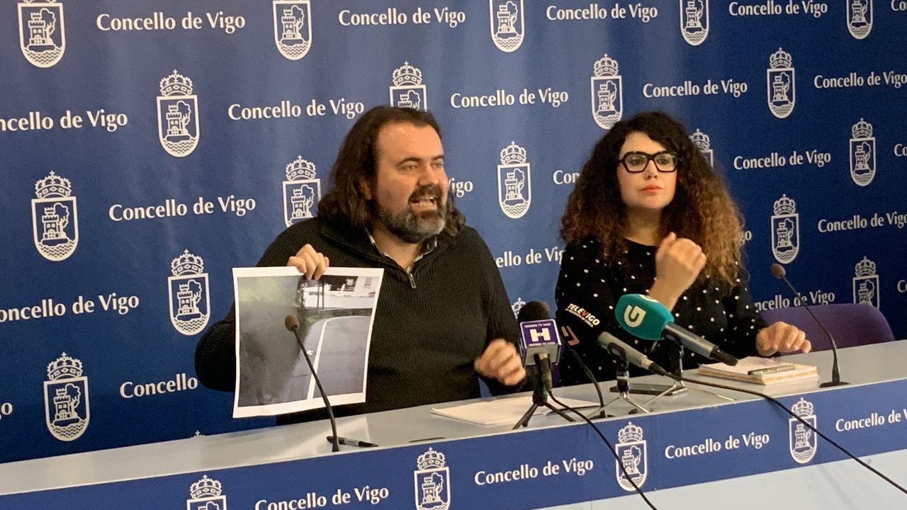 Protesta del metal en Vigo.Vista de los astilleros de Vulcano