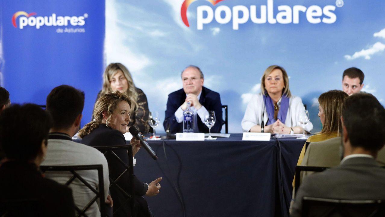 Carbón en la playa de San Lorenzo, Gijón.La candidata popular a la Presidencia del Principado, Teresa Mallada (i), durante su intervención en la reunión del Comité Ejecutivo Regional del PP de Asturias