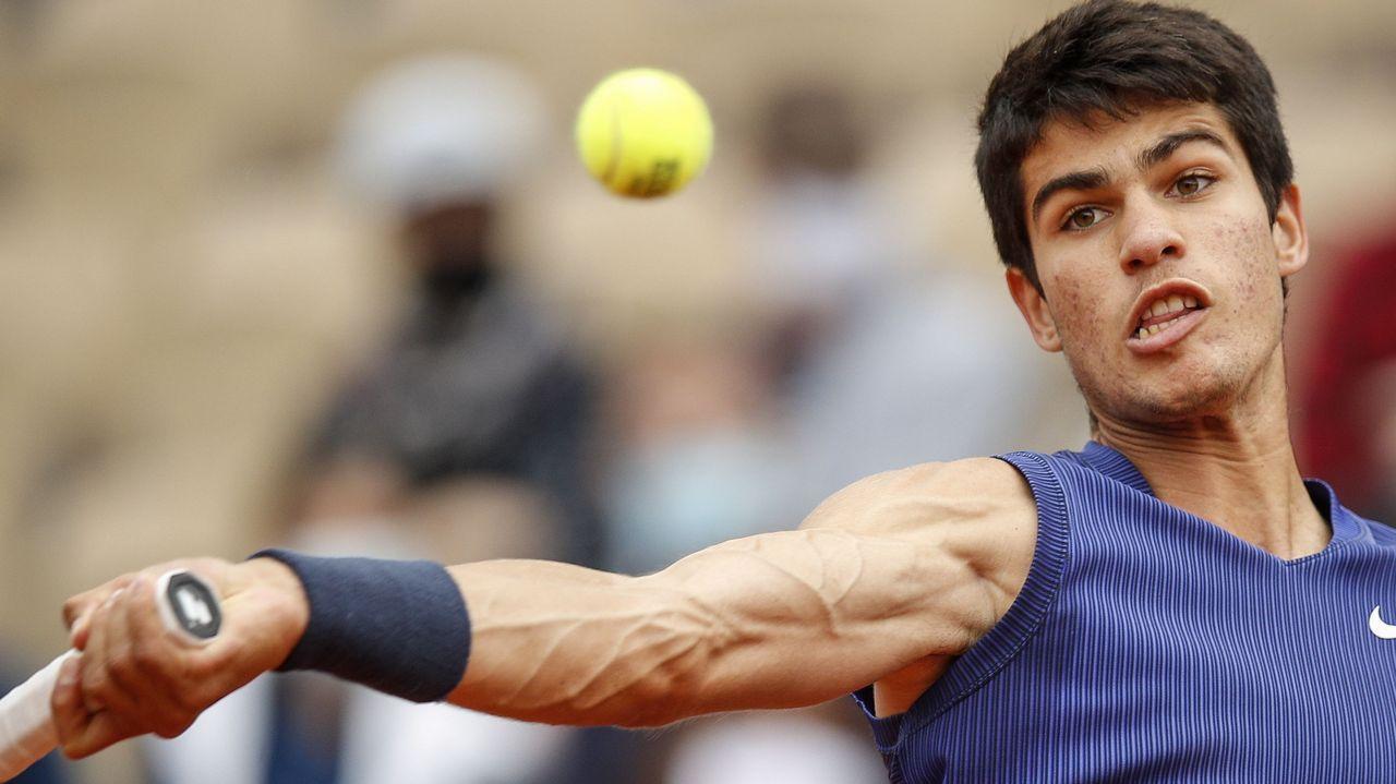 El tenista gijonés Pablo Carreño durante su partido de Roland Garros contra el griego Stefanos Tsitsipas