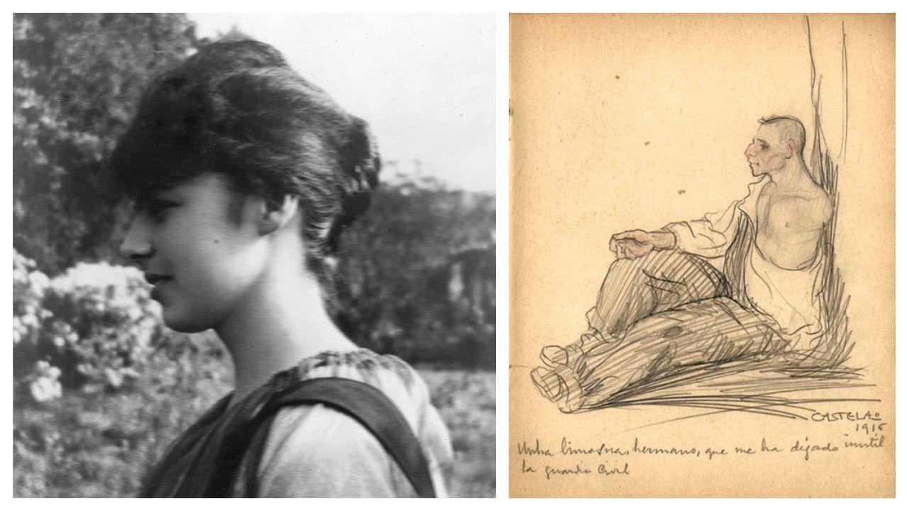 Á esquerda, Emilia Lluria, retratada no xardín do castelo de Soutomaior, en 1917. Á dereita, o debuxo de Castelao de 1916 extraído do caderniño de autógrafos de Emilia, fillastra de María Vinyals