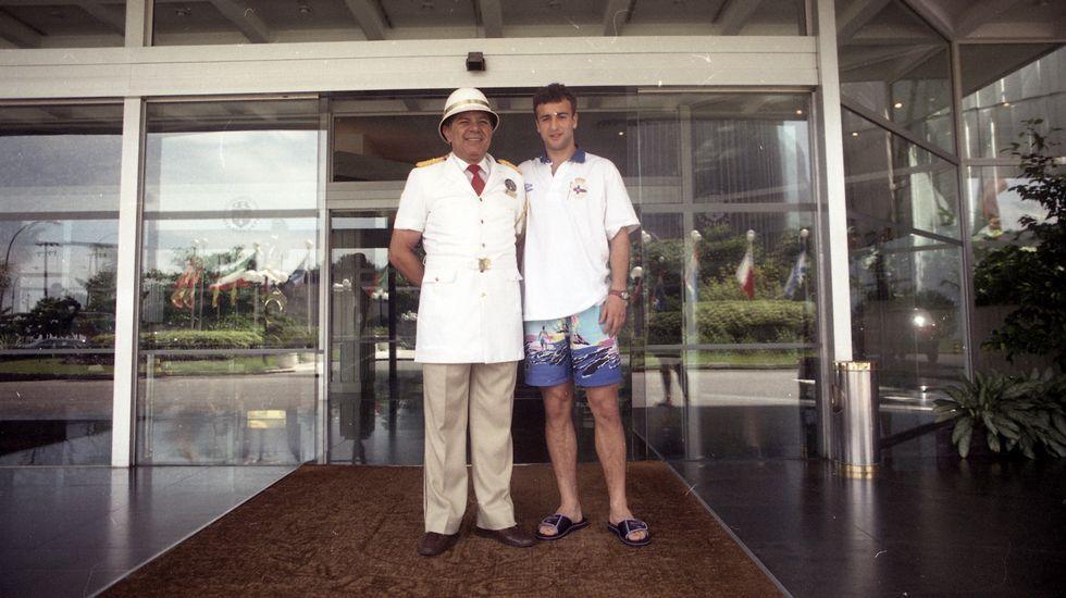 Barritos, Yosu y Mauro, en el hotel.