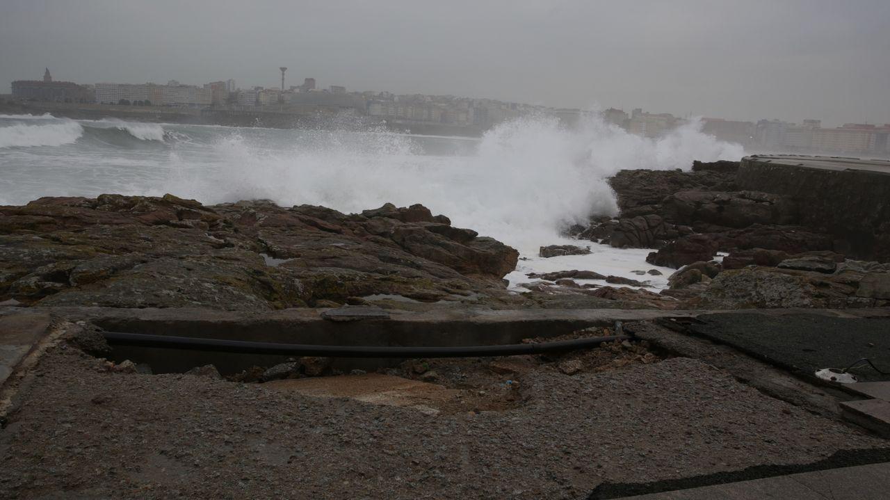 Efcetos del temporal esta mañana en A Coruña