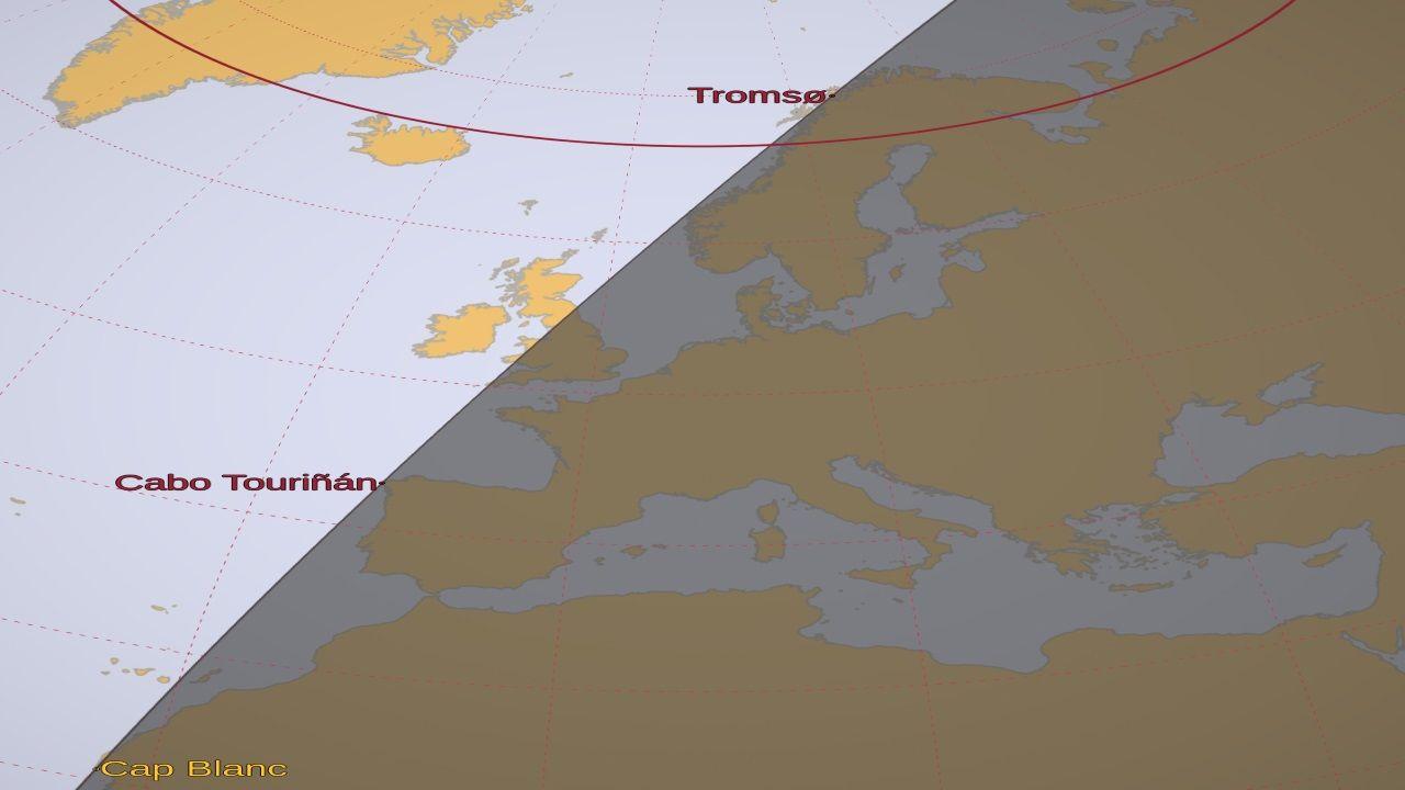 Configuración de la línea que separa el día de la noche prevista para el 18 de agosto