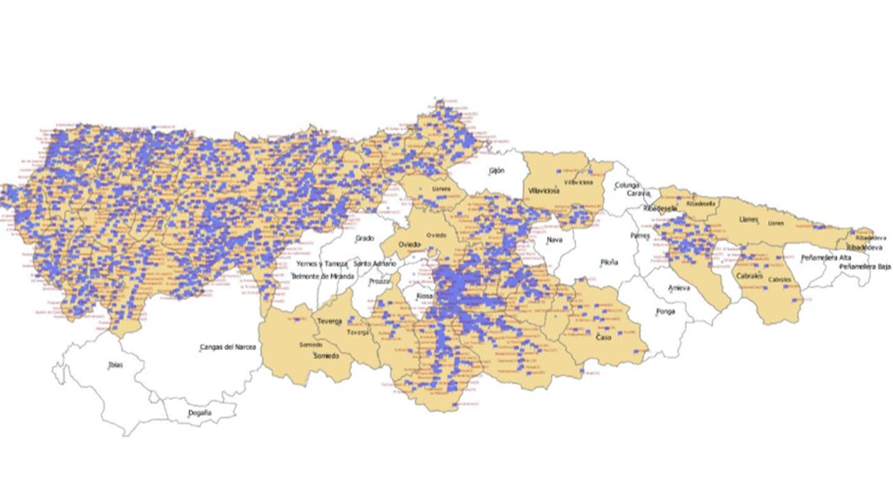 Los puntos azules indican las localidades donde se está llevando la fibra óptica durante este año
