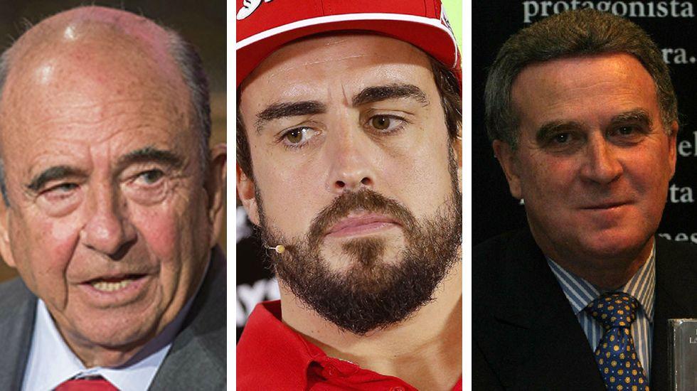 Alonso se despide por todo lo alto en Abu Dabi.Emilio Botín, Fernando Alonso y el coruñés Ramón López Vilas.