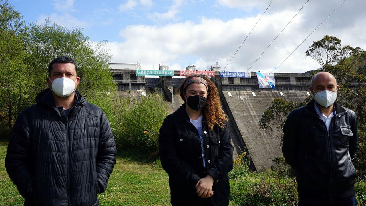 El parlamentario Ramón Fernández, la responsable local de Galiza Nova en As Pontes Carmela Franco y el diputado en el Congreso Néstor Rego