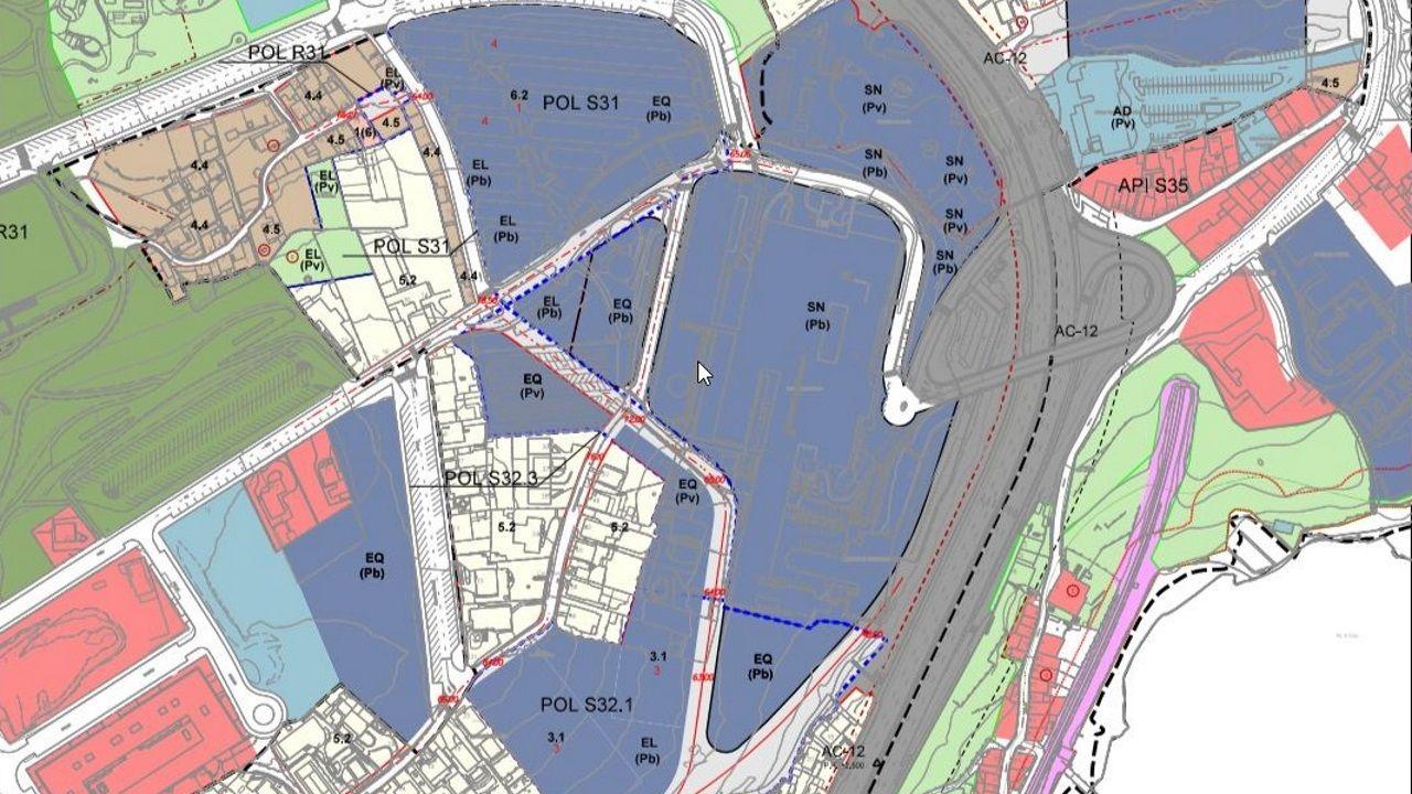 Plano de zonificación del ámbito del Novo Chuac propuesto por el Ayuntamiento