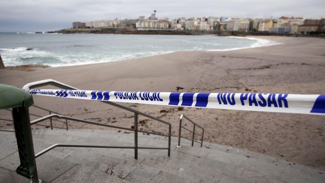 Accesos a las playas cerrados en A Coruña