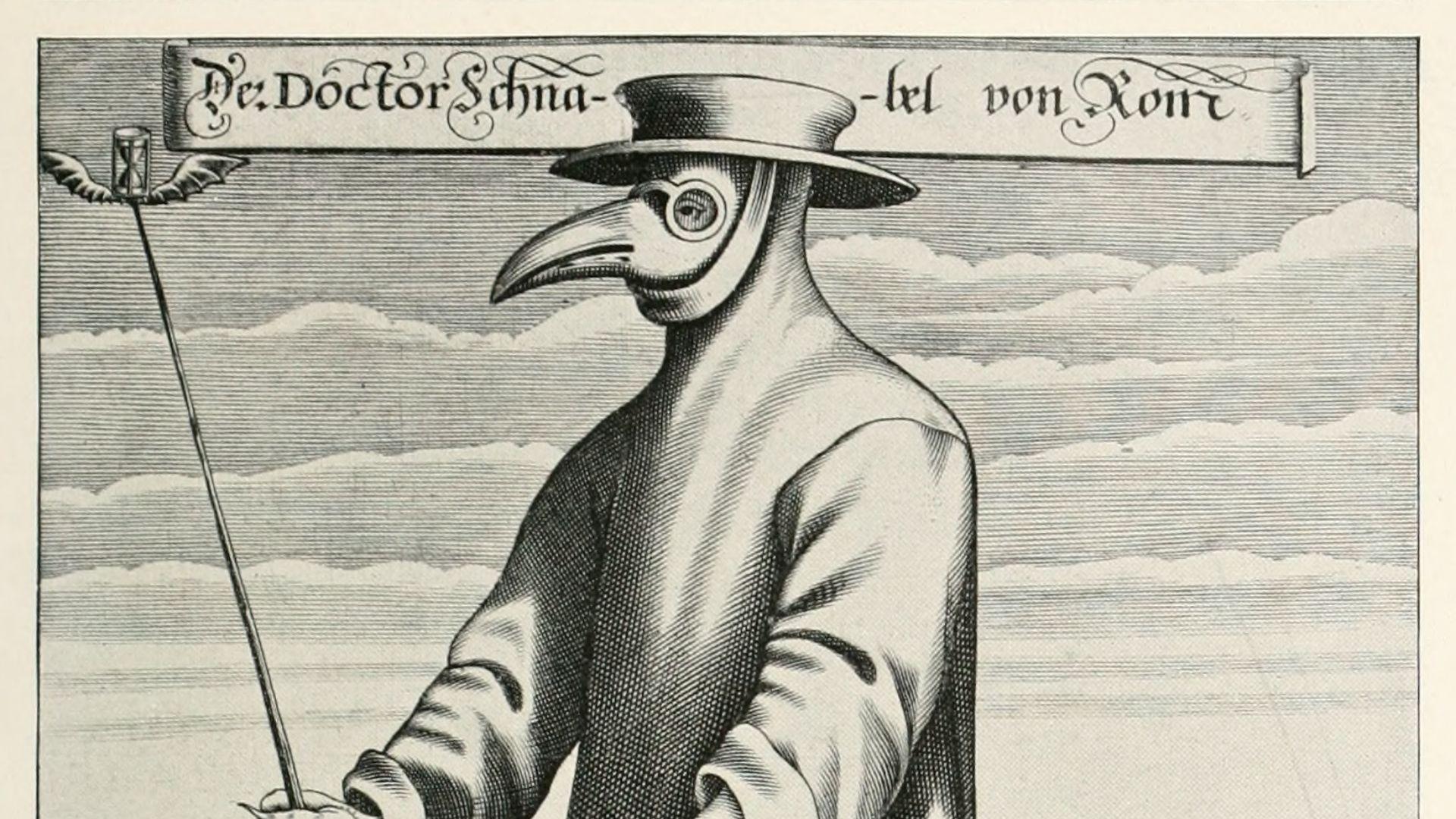 La Peste Atlántica. Años 1596-1602. Se inició en la Península Ibérica con altas tasas de mortalidad que, en Castilla, llegaron casi al 15% de la población. En la imagen, el «Doctor de la Peste» con su máscara de pico, en un grabado alemán de 1656