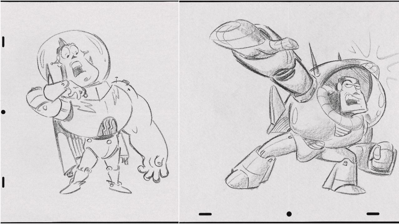 Dos de los bocetos originales de Buzz Lightyear