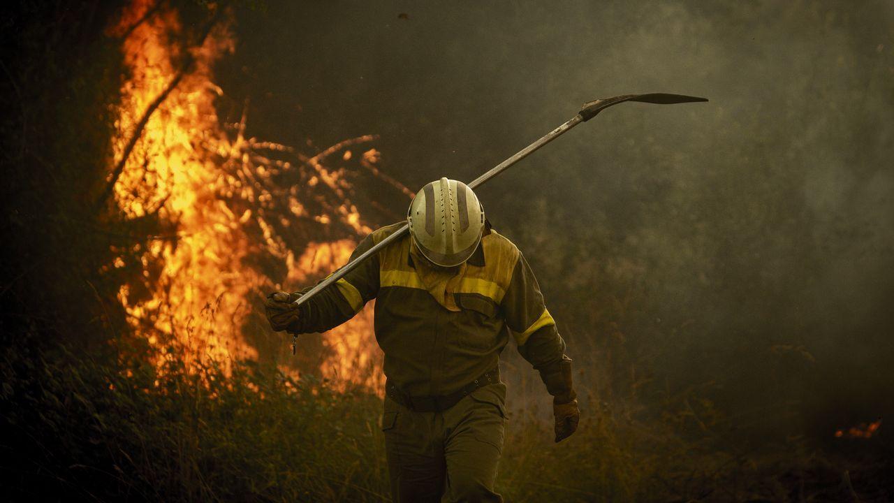 Incendio forestal en Ames.Personal de extinción de incendios actuando en el fuego de Cualedro la semana pasada