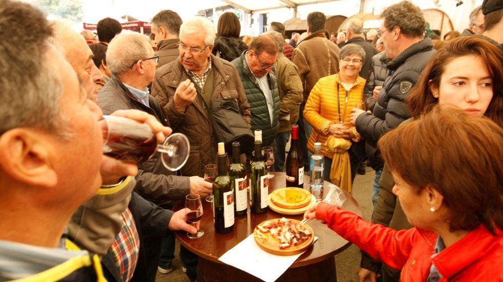 Una pandilla degusta unas raciones de pulpo con los vinos en el recinto ferial