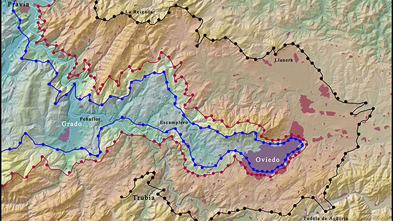 Líneas del frente de Oviedo durante la Guerra civil, hacia octubre de 1937. Las líneas azules indican posiciones nacionales; las rojas y negras son las republicanas
