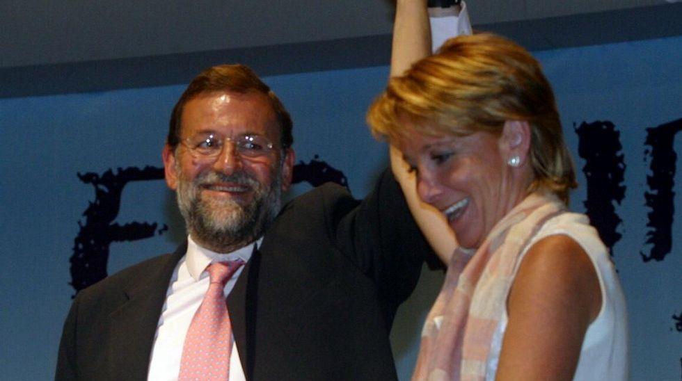 Con Rajoy en un mitin en el 2003.