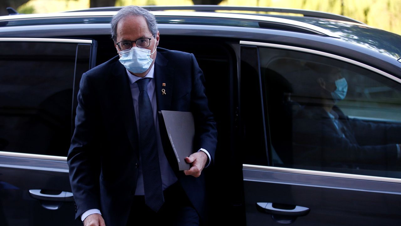 Quim Torra, a su llegada al Parlamento catalán