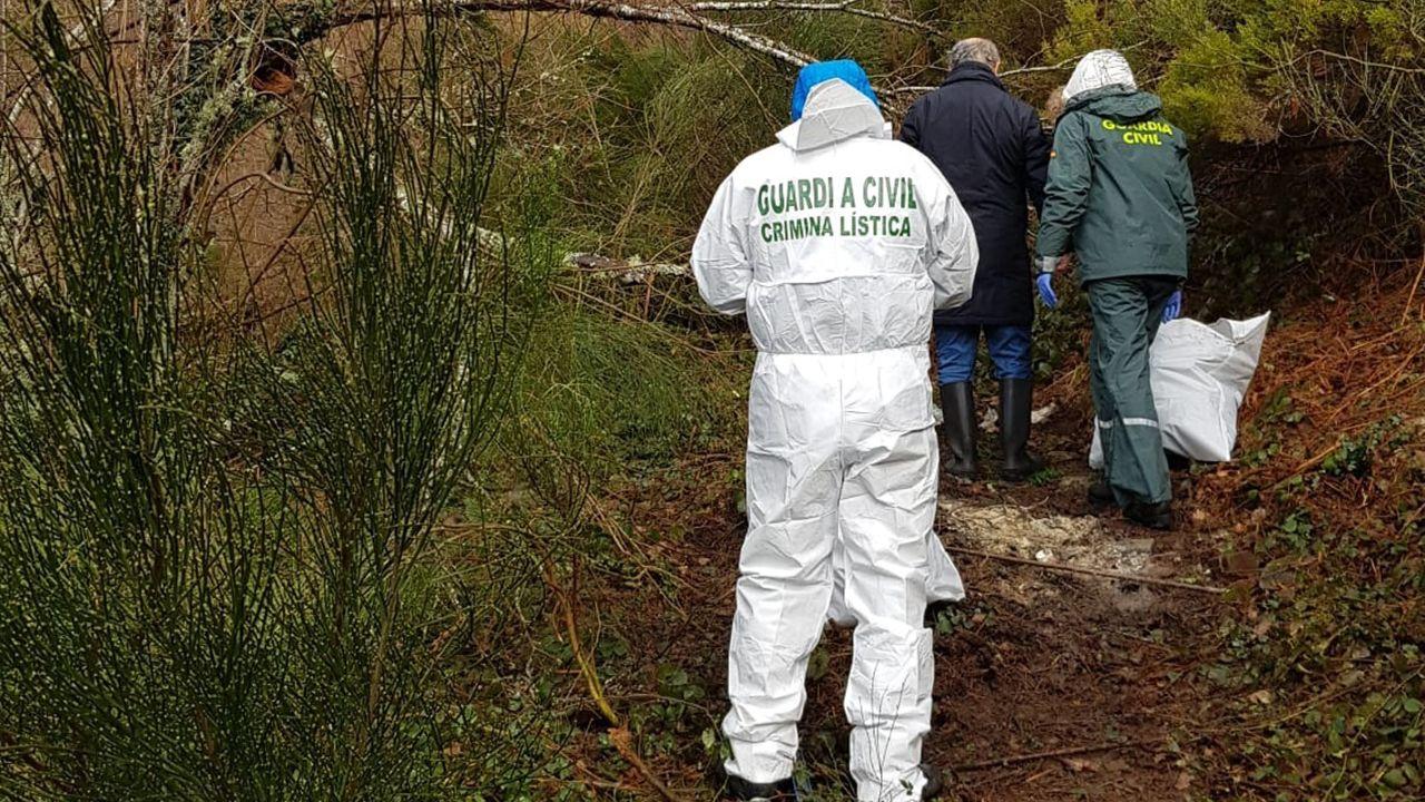 Agentes de la Guardia Civil investigan los restos humanos encontrados en Ibias