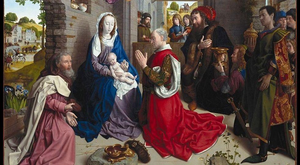 El mundose aferra a la mascarilla.Reproducción del cuadro «La Adoración de los Reyes», de Van der Goes, expuesto en Monforte hasta finales de 1913
