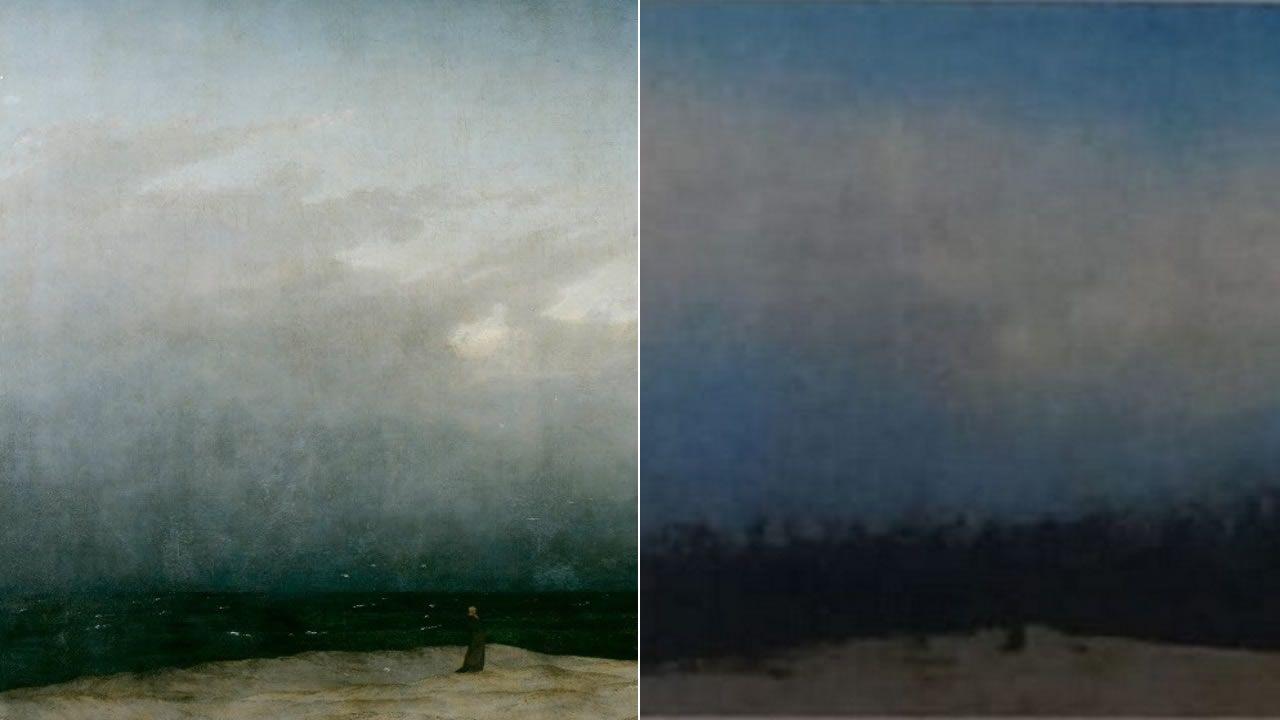 Friedrich: Monk by the sea: a la izquierda cuadro original, a la derecha lo que se vio en el examen de selectividad