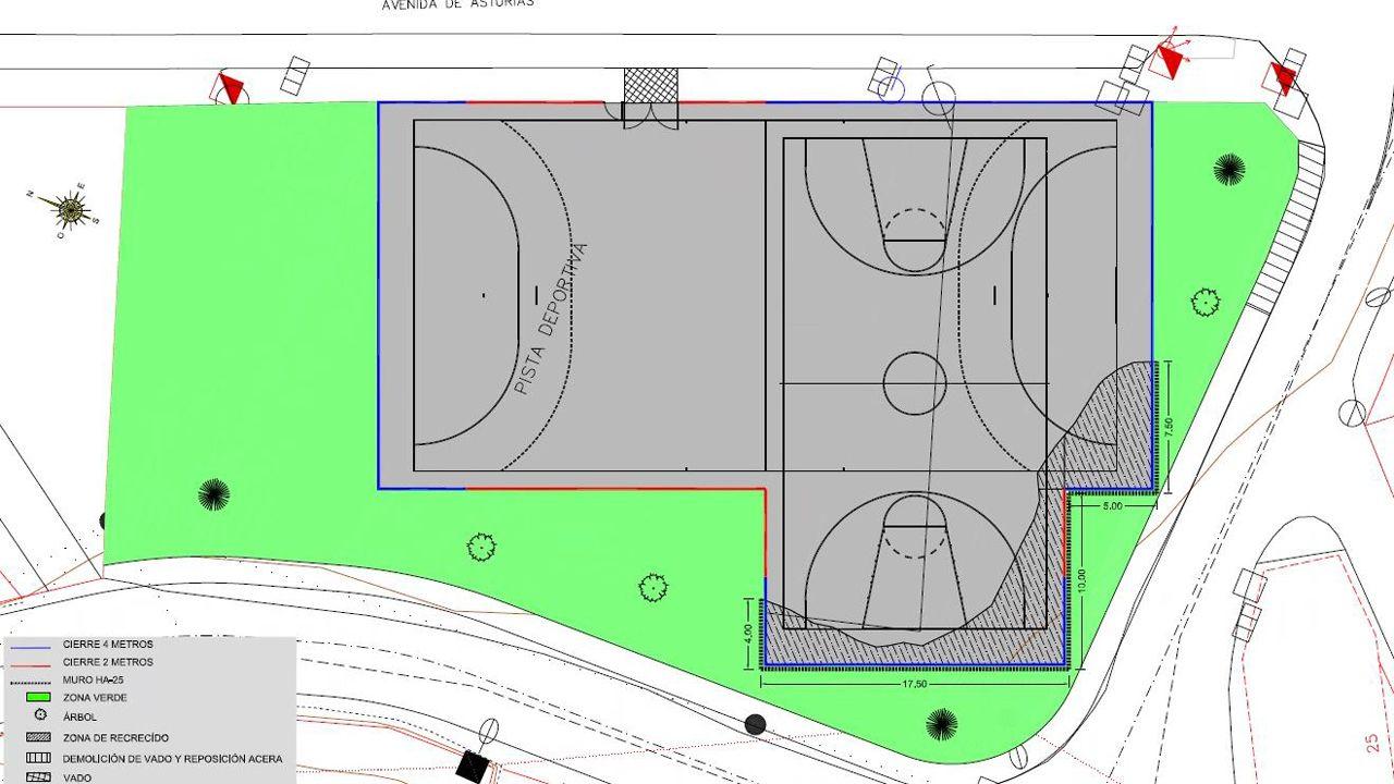 Plano de la nueva pista polideportiva de Miranda