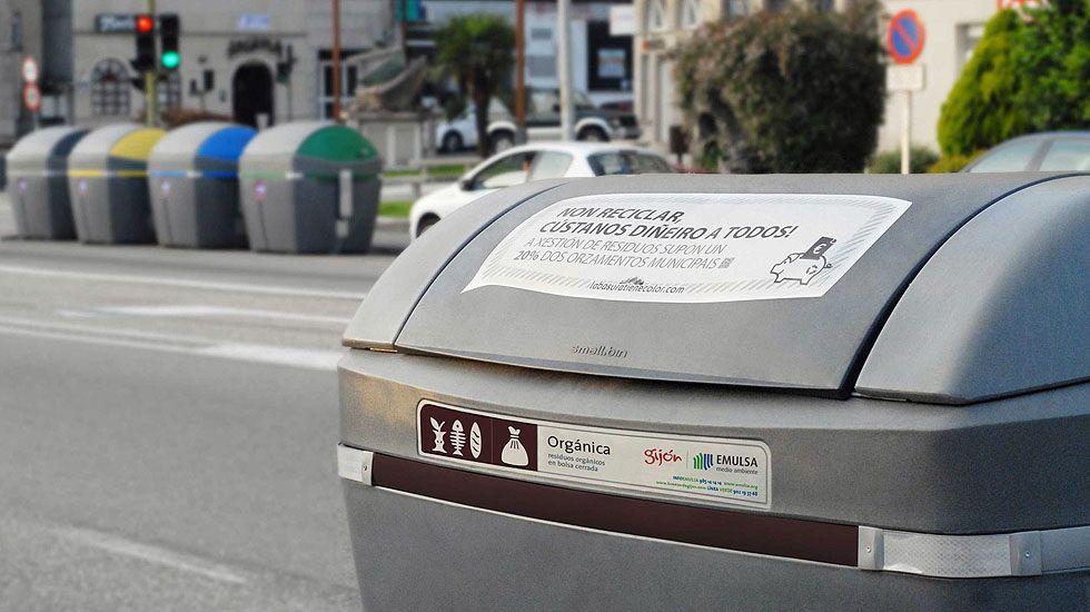 Contenedores de reciclaje en Gijón