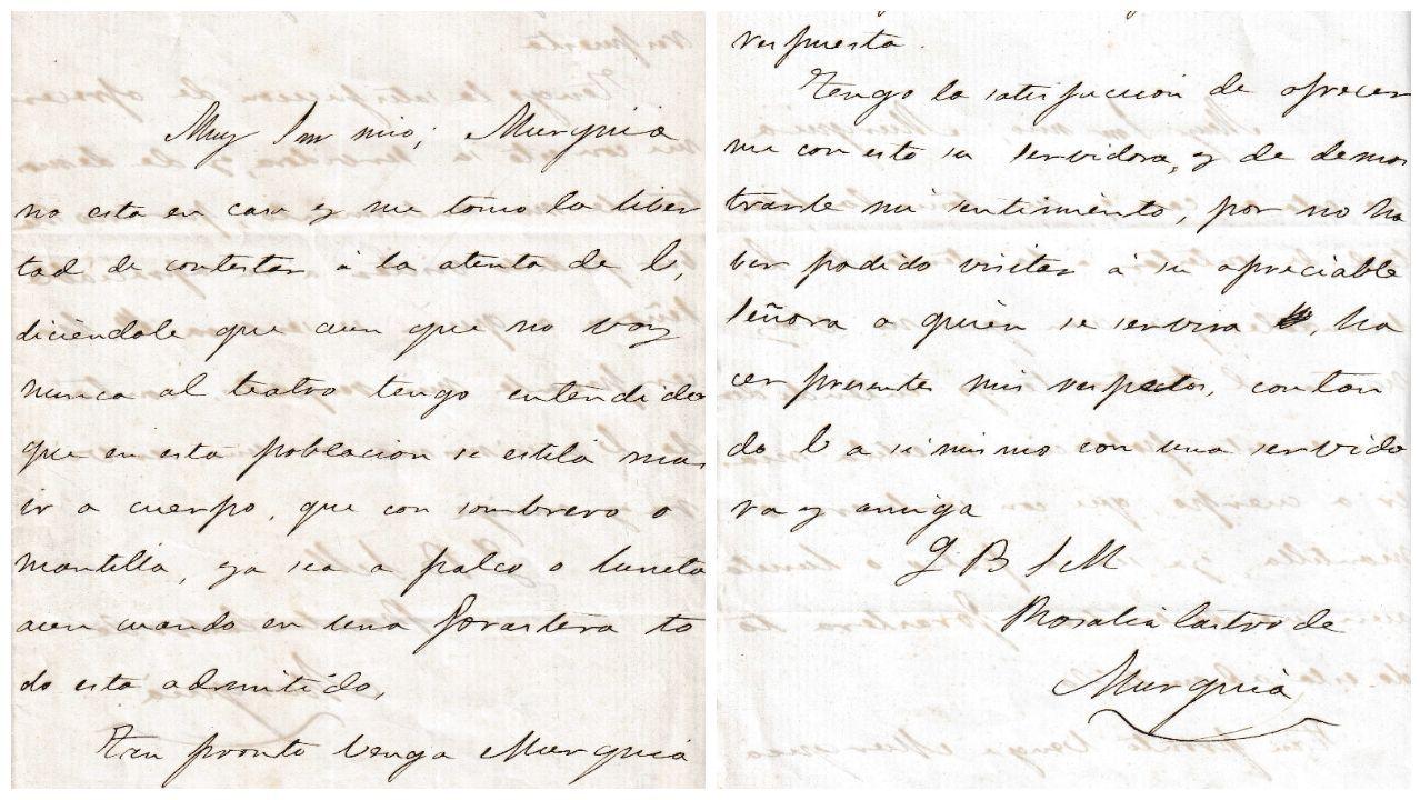 Encabezamento e despedida da carta inédita de Rosalía de Castro