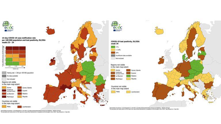 Asturias vuelve a destacar en los mapas europeos del covid