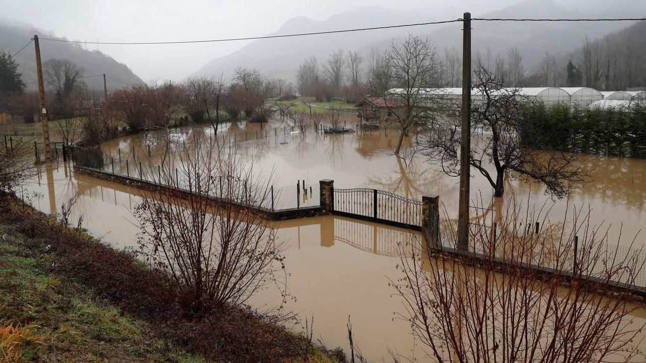 Unos turistas consultan un plano de Oviedo en la calle Uría.Inundaciones al desbordarse el río Nalón en Las Inmediaciones de Laviana(Asturias)