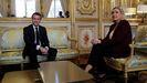 Macron y Le Pen, en una reunión en el Elíseo en febrero del 2019