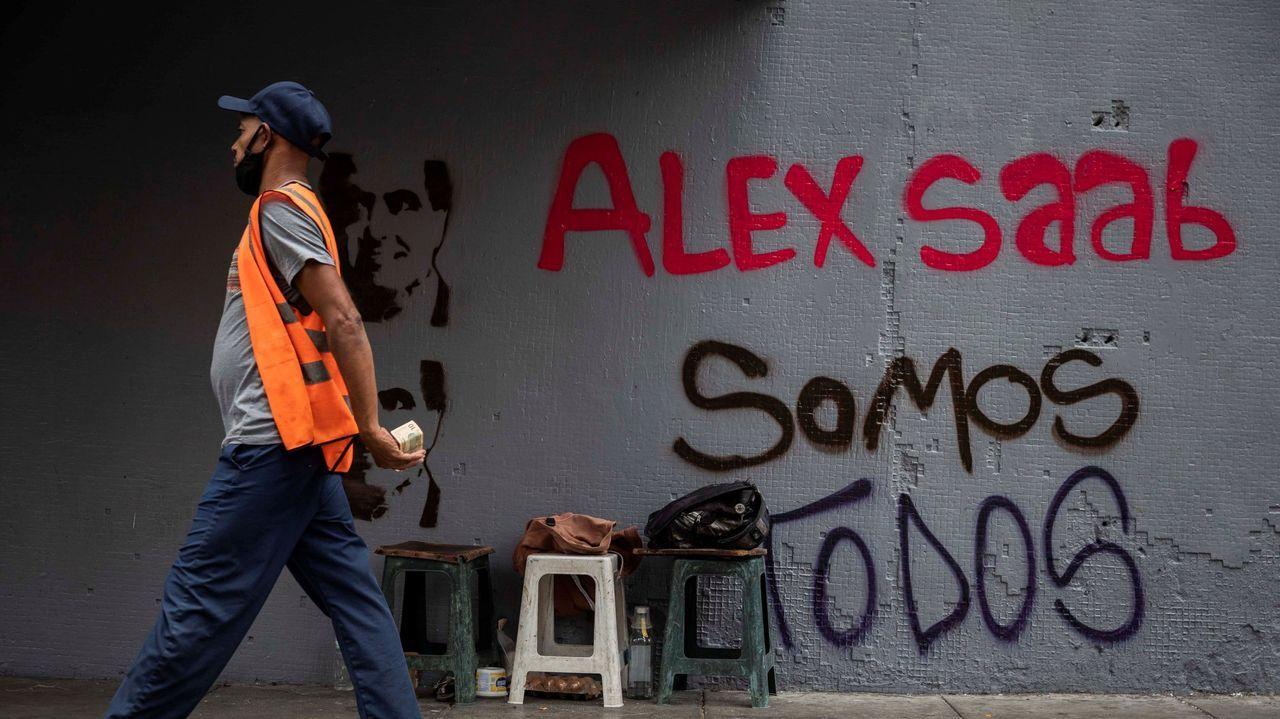 Pintada en apoyo a Saab en Caracas