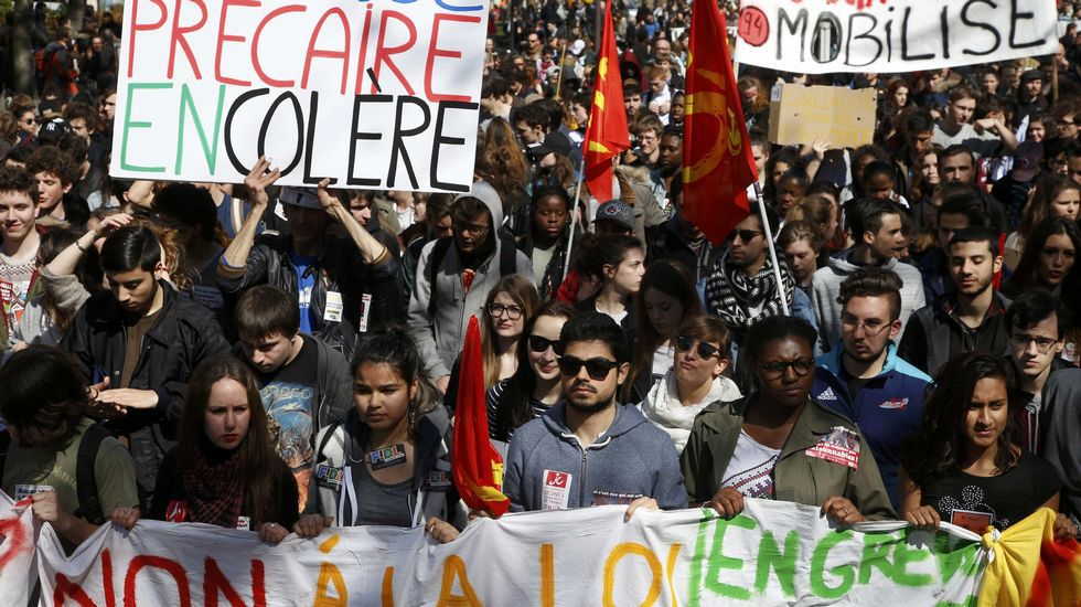 La reunión a tres, en imágenes.Manifestaciones de estudiantes contra la reforma laboral en París