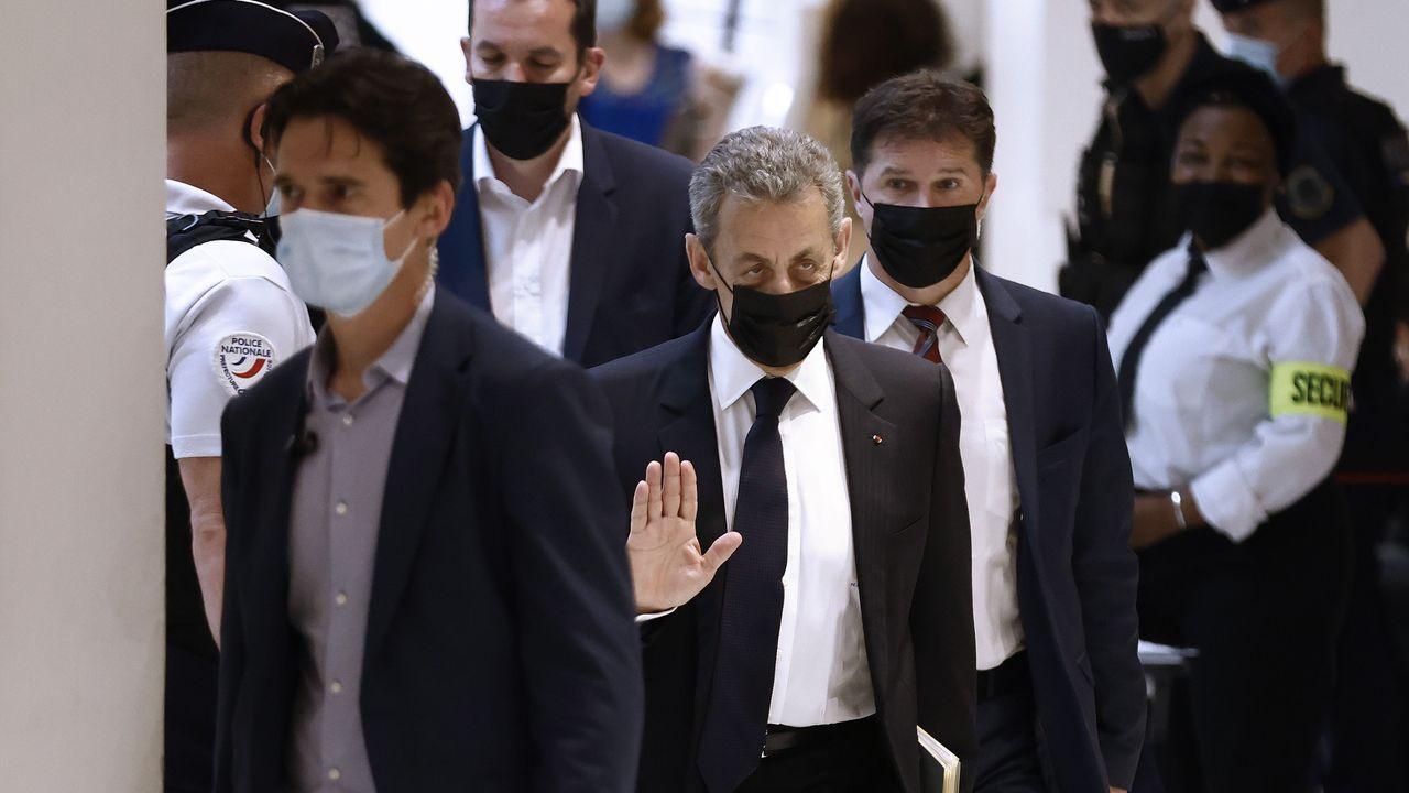 Sarkozy, a su llegada al Tribunal Correccional de París.